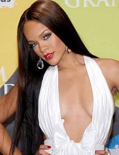 Rihanna Long Straight Dark Hair