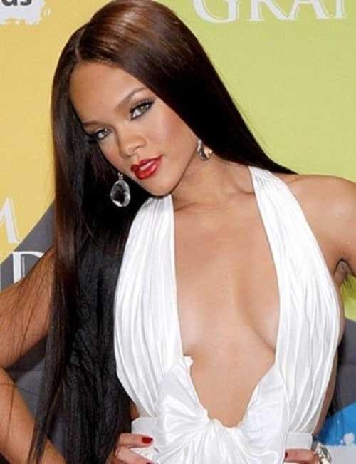 Rihanna Long Straight Dark Hair