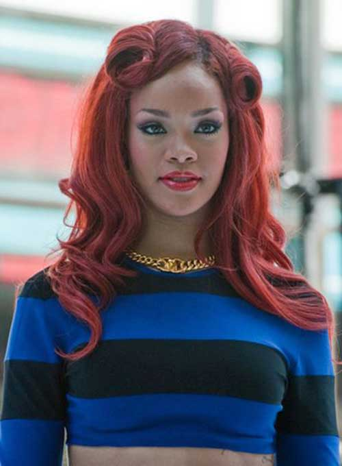 Rihanna Victory Rolls Long Hair