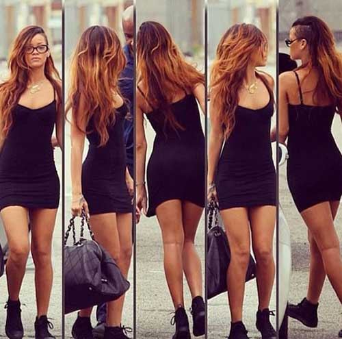 Rihanna with Street Style Long Hairstyles