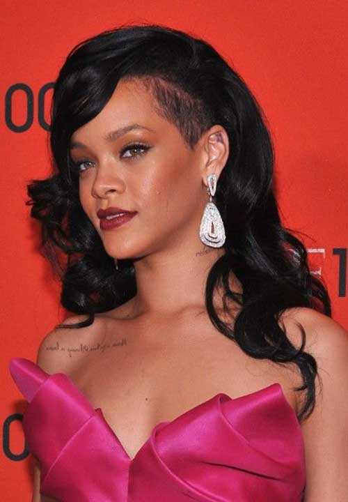 Side Shaved Long Hairstyles Rihanna