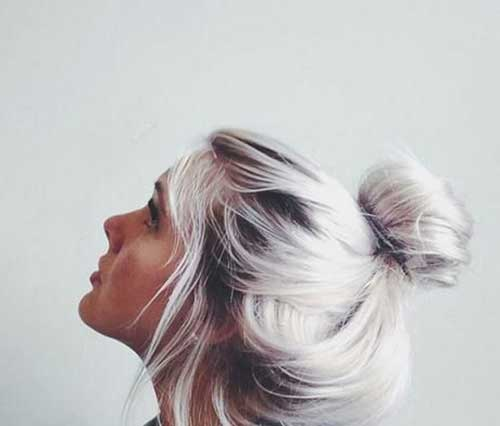Silver Hair Messy Buns Hairstyles