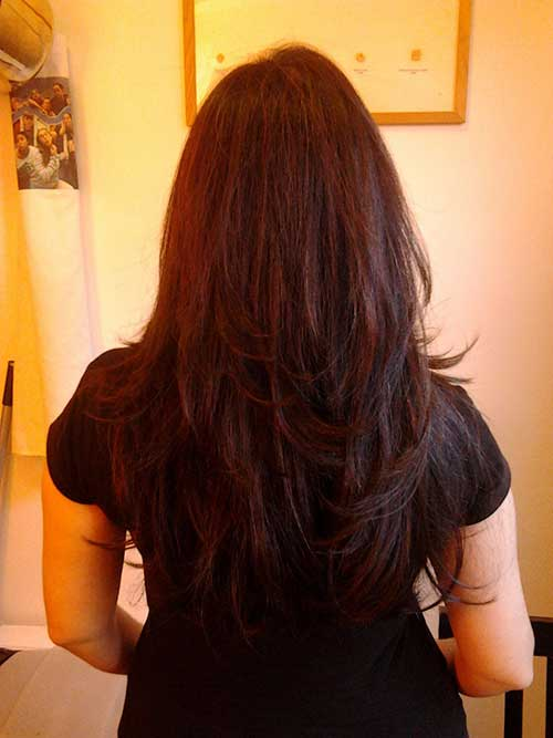 Trendy Long Layered Hair Cuts Back View