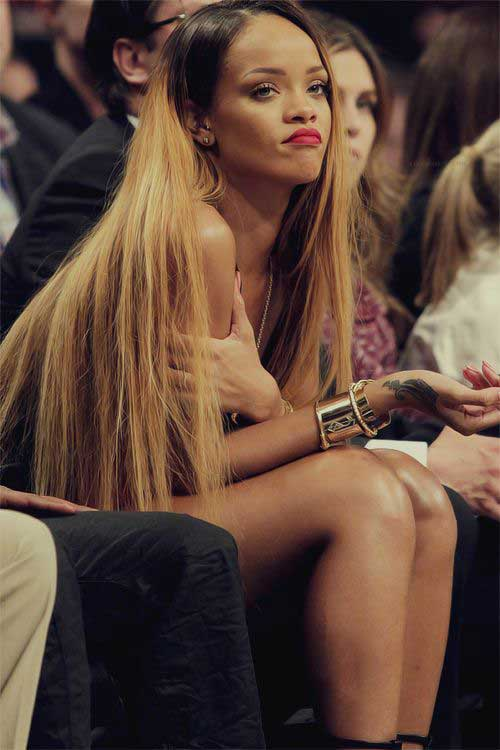 Very Long Blonde Hairstyles Rihanna