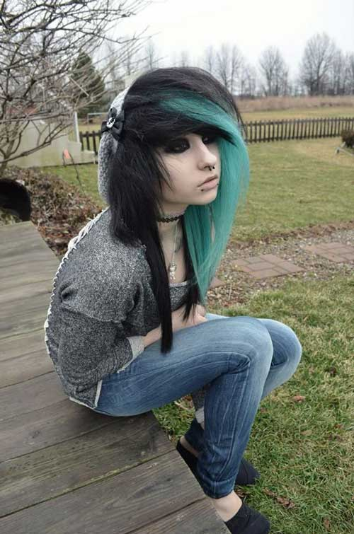 Black Blue Long Punk Hairstyles