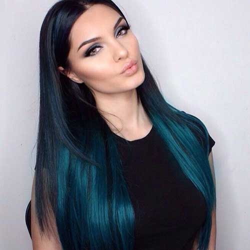 Black and Teal Ombre Hairstyles