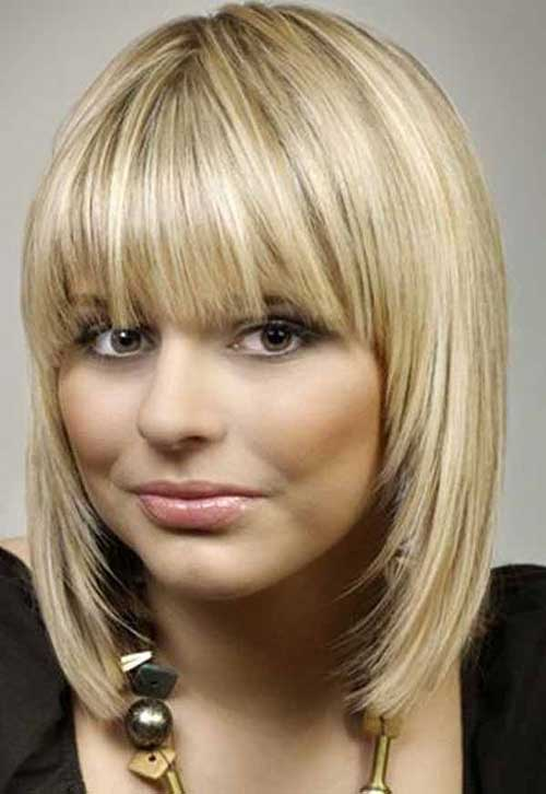 Blonde Layered Bob Hairstyle With Bangs