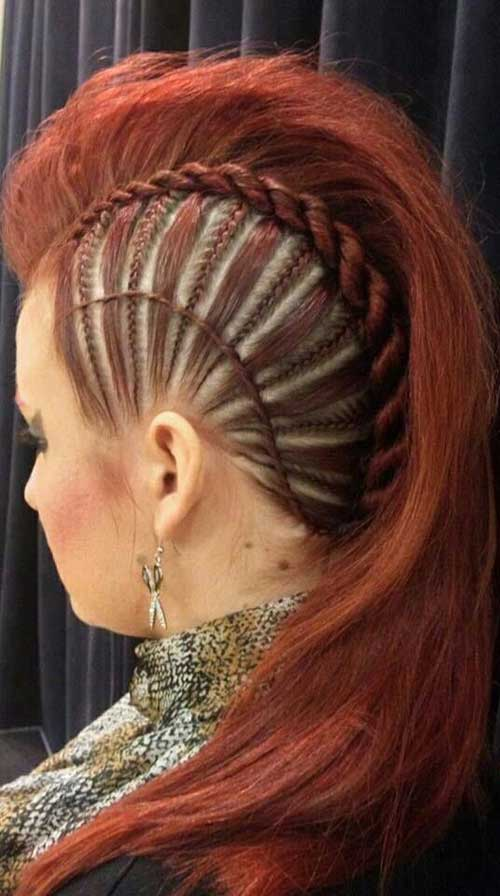 Braided Mohawk Punk Long Hair