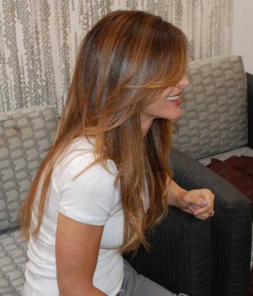 Best Brunette Layered Side Bangs Long Hair with Highlights