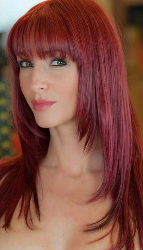 Cranberry Layered Long Straight Hair