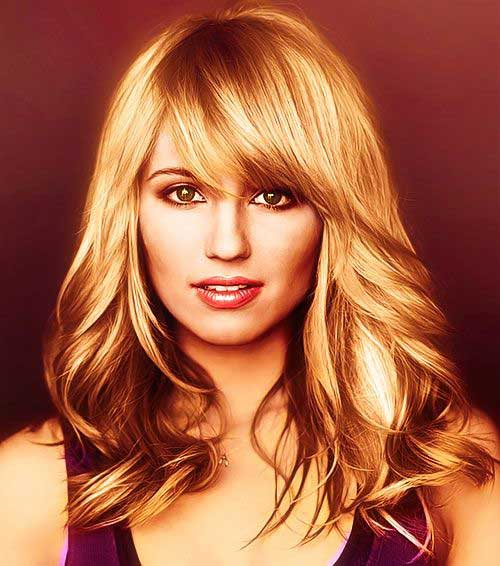 Dianna Agron Hairstyles with Side Swept Bangs