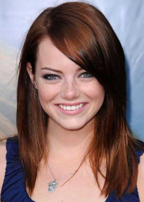 Emma Stone Dark Red Hair for Round Faces