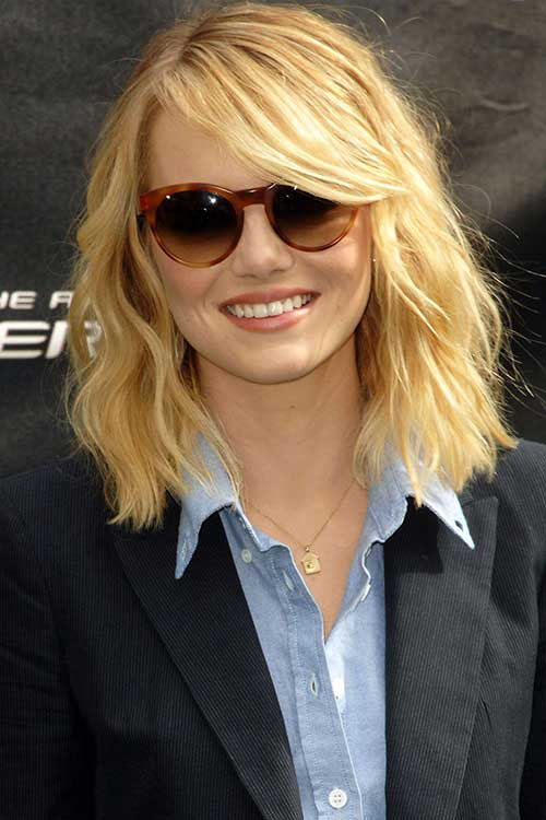Emma Stone Shoulder Length Hair 2015