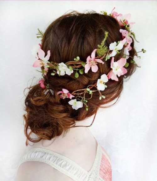 Flower Crown Updo Wedding