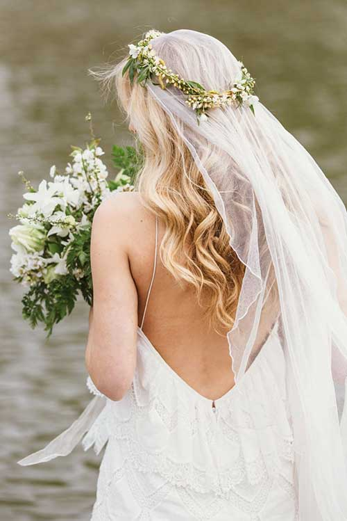 Flower Crown Wedding Hair with Veil Images