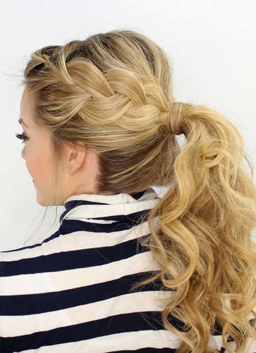 French Side Braid Into Ponytail