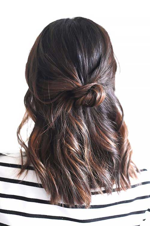 Half Up Bun for Mid Hairstyles