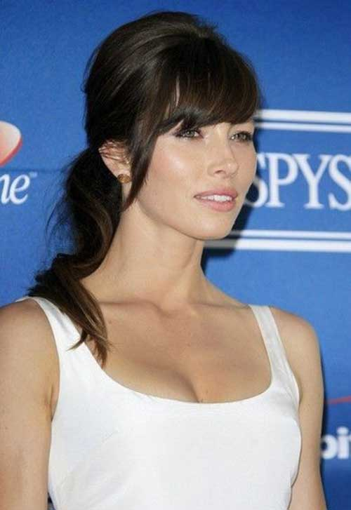 Jessica Biel Ponytail Hairstyles with Side Bangs