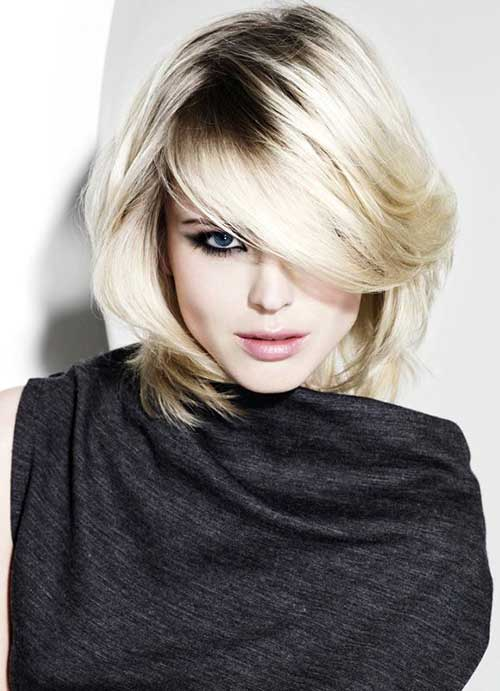 Latest Charming Short Hair With Long Bangs For Round Faces