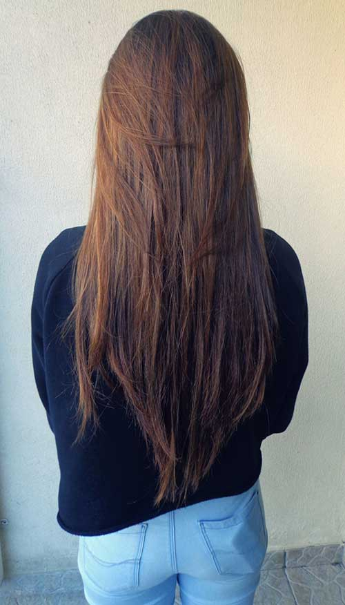 Layered Long Dark Straight Hair Cut Styles