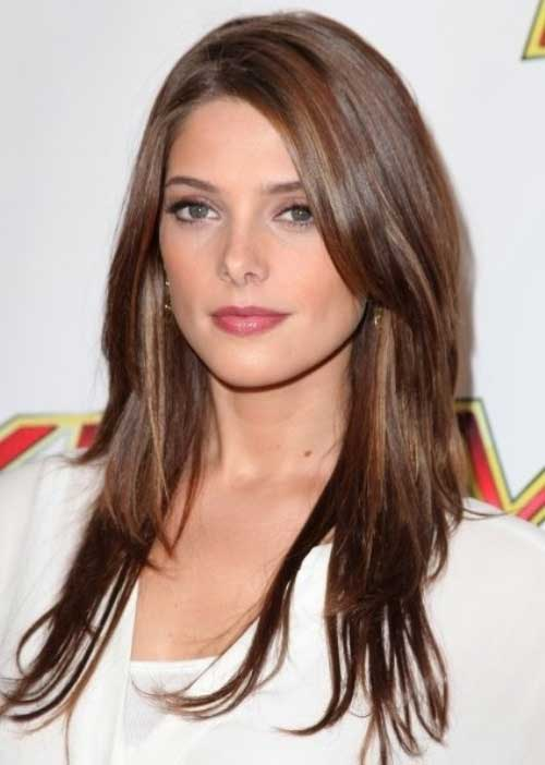 Best Layered Side Bangs Long Brown Hair Color