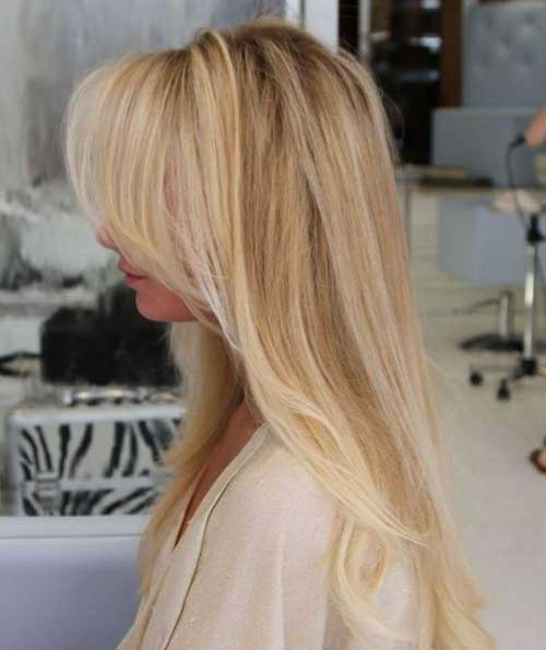 Best Long Blonde Hairstyles Side Swept Bangs