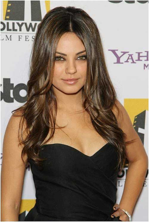 Mila Kunis Long Hair for Round Faces
