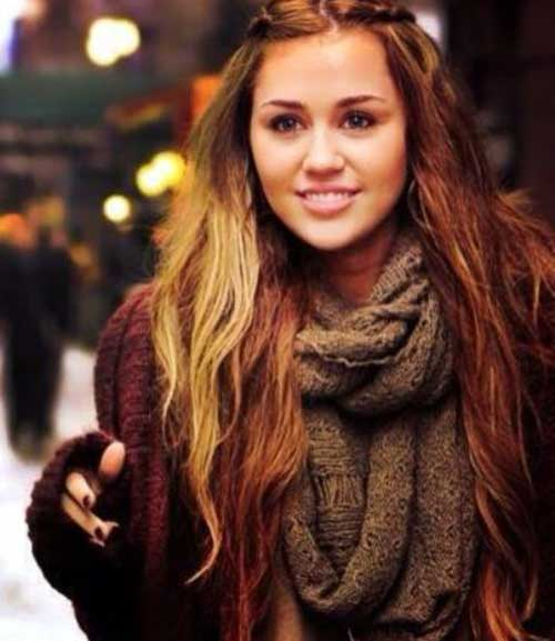 Miley Cyrus Long Dark Blonde Hair