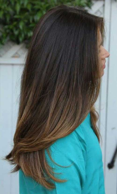 Ombre Brunette Straight Layered Hair