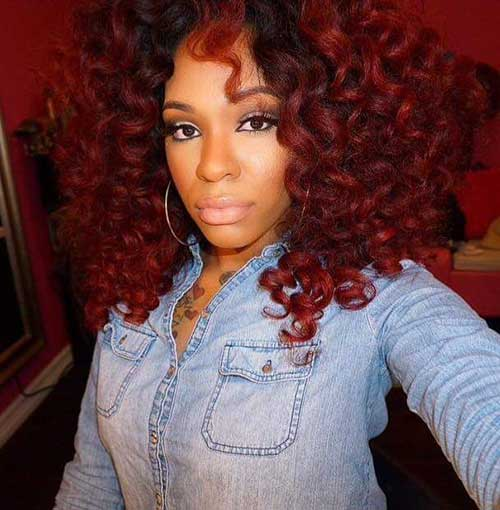 Groovy Red Curly Weave Hairstyles Hairstyle Short Hairstyles Gunalazisus