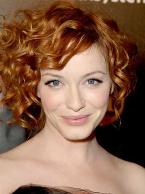 Short Curly Red Hair Oval Faces