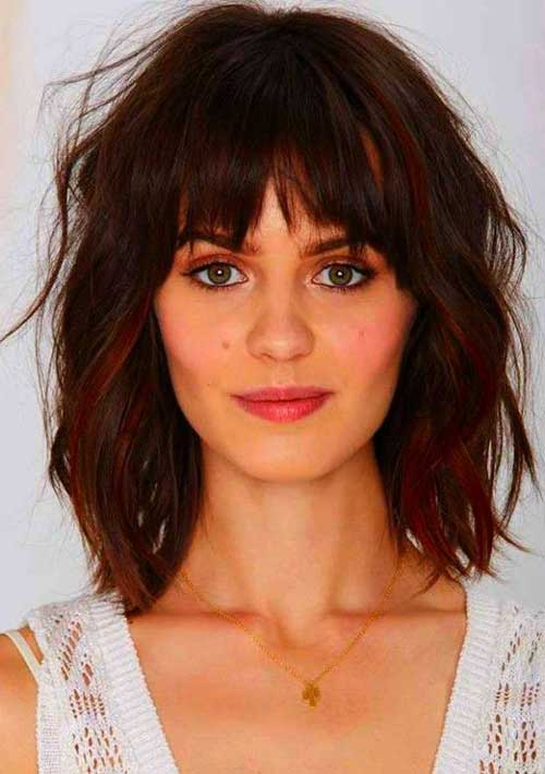 Wavy Hair with Fringe for Round Faces