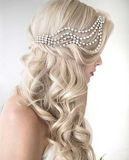 Side Curly Down Hair for Wedding Images