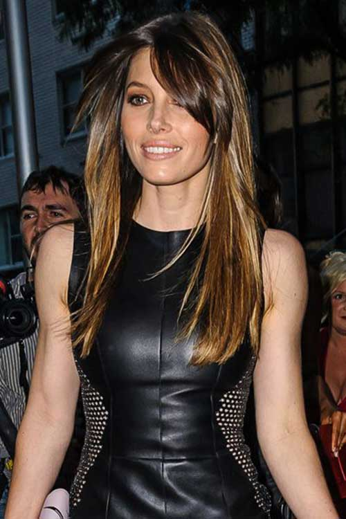 Long Straight Hair With Side Swept Bangs And Layers