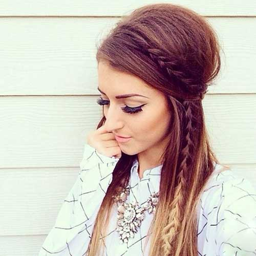 Teased Half Up Half Down Hairstyles 2016