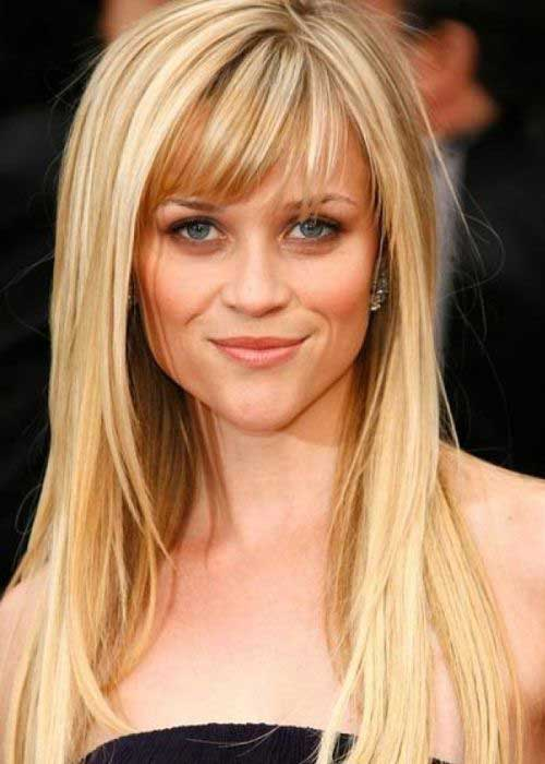 Thin Long Hairstyles with Bangs Pictures