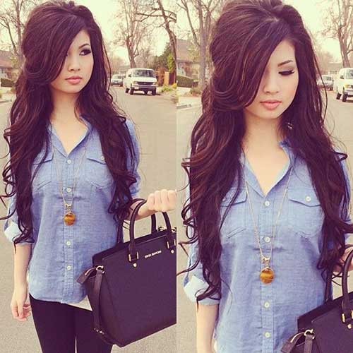 Very Long Dark Hair Layered Side Bangs Cuts