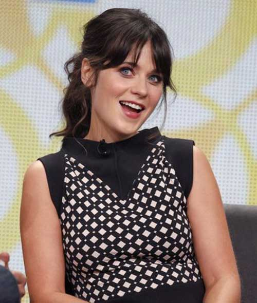 Zooey Deschanel Ponytail with Bangs