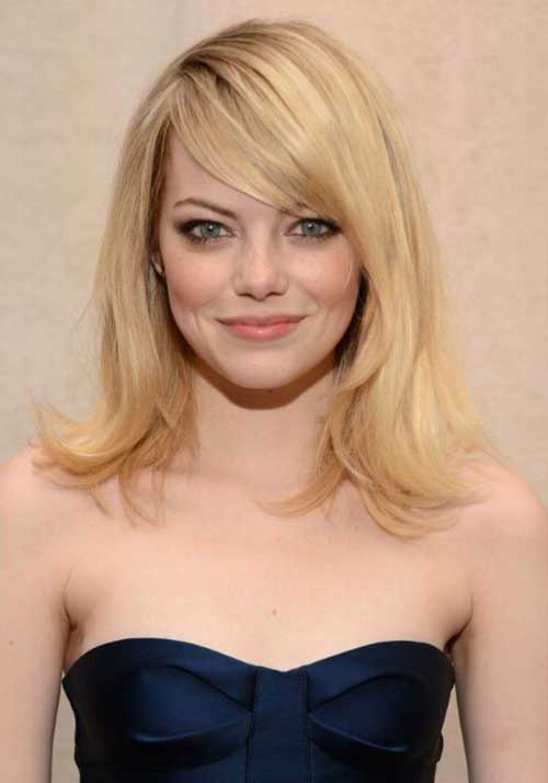 Layered Hairstyle With Side Bangs For Long Hair Round Face
