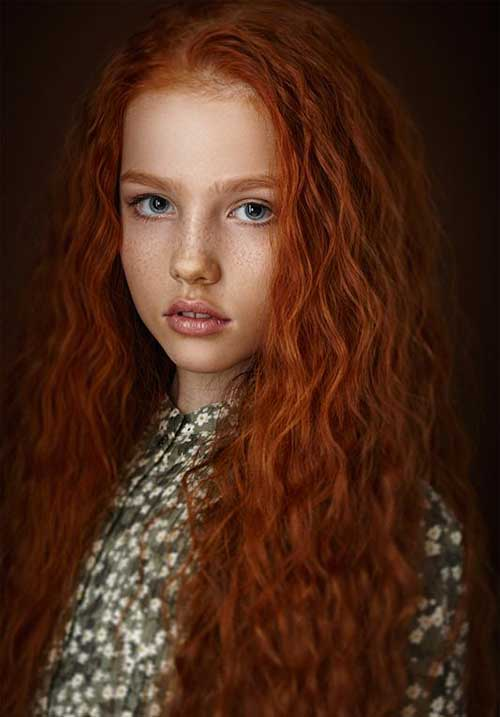 Long Red Curly Hair-8