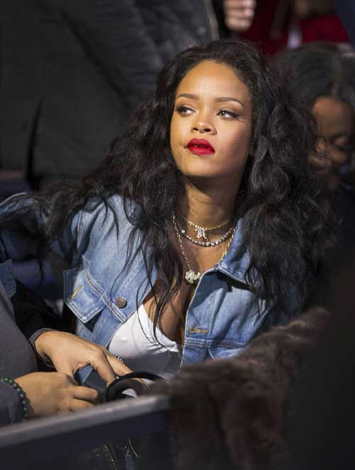 Rihanna Long Curly Weave Hairstyle