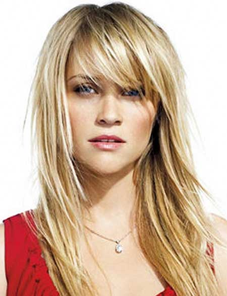21 medium length layered haircuts with bangs hairstyles long hairstyle and side bangs urmus Gallery
