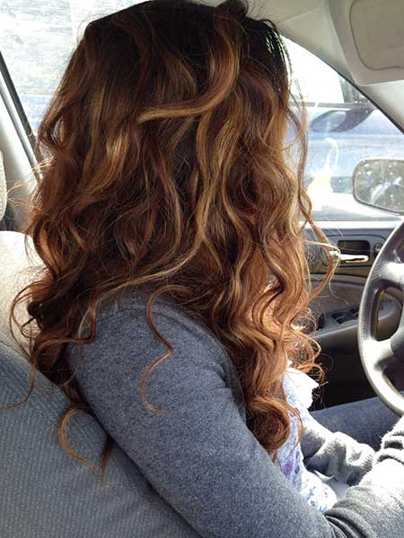 Brunette with Highlights Curly Hair Highlights Blonde, Balayage,