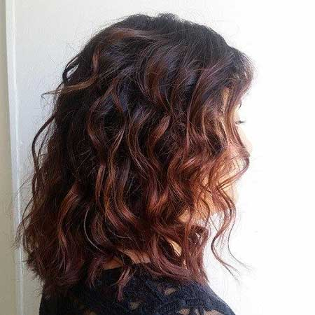 Reddish Hair Dark Curly Hair Balayage, Balayage, Curly Layered
