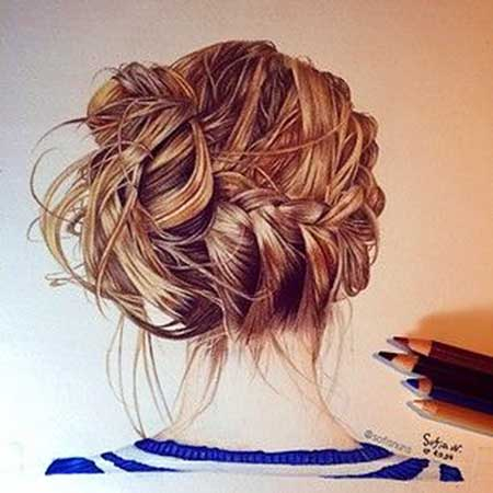 Pin, Up, Drawings, Girls, Fishtail, Low, Updo, Bun