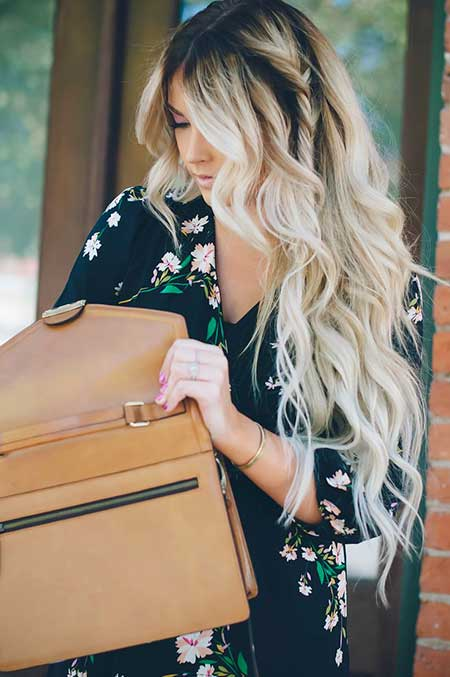 Blonde Dark Roots Blonde Balayage Highlights On Dark Hair, Beach Waves,