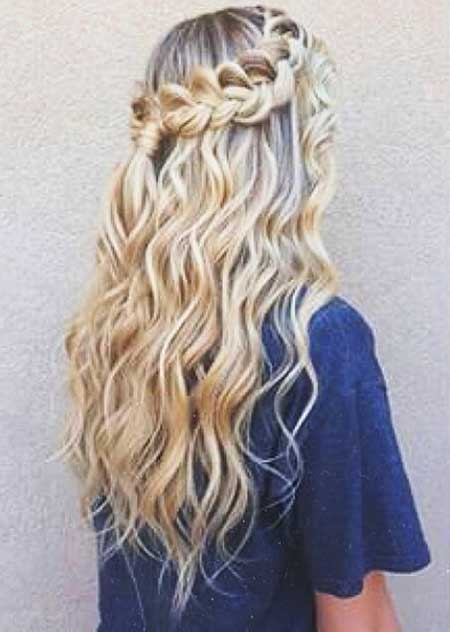 Curly, Dutch, Waterfall, Curls, Long, Wedding