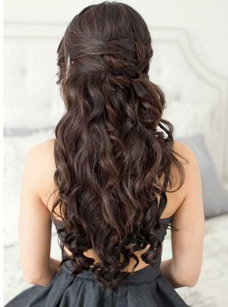 Dark, Brown, Prom, Long, Wedding, Curls, Waterfall
