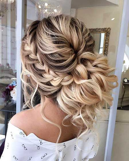 Medium Wavy Casual Asymmetrical Updo Hairstyle With Side Swept Bangs Brunette