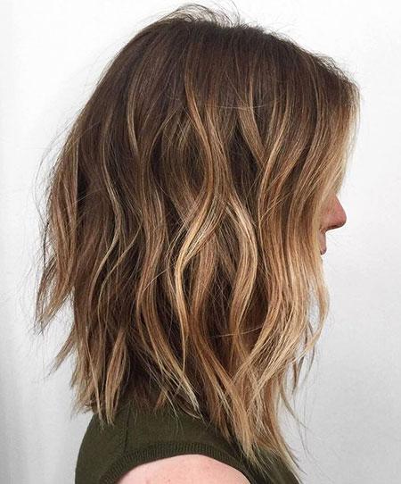Choppy Haircut, Balayage Choppy Brown Long